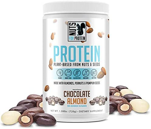 Nuts For Protein Plant Based Protein Powder Supplement Derived from Almonds, Peanuts and Pumpkin Seeds Keto Paleo Friendly, Non-Dairy, Low Carb, Low Sugar Chocolate Almond, 20 Servings