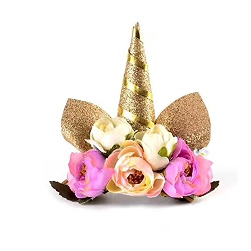Festivous Wishel Unicorn Headband Unicorn Birthday Flower Headband Unicorn Party Unicorn Photo Props (Gold 1) ()