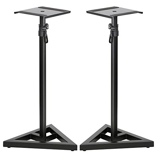 Topeakmart 2 Pcs Speaker Stands Adjustable Monitor Metal Set Speaker Triangle Pair Steel ()