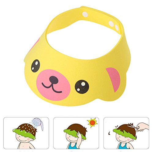 Chinatera Adjustable Baby Kids Safe Shampoo Cap Bath Shower Bathing Protect Soft Cap Hat Wash Hair Ear Shield for Baby Children Kids (Yellow)