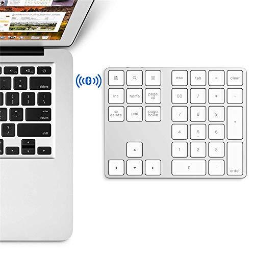 - RBH Wireless Numeric Keypad, Aluminum Alloy Portable Wireless Bluetooth 34-Key External Numeric Keypad - Financial Accounting Data Input for Laptops, PC,White