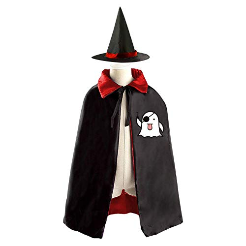 (69PF-1 Halloween Cape Matching Witch Hat Funny Ghost Pirate Wizard Cloak Masquerade Cosplay Custume Robe Kids/Boy/Girl Gift)