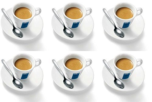 6 X Lavazza Espresso Cups And Saucers Capacity Cc 75 Height Mm 58