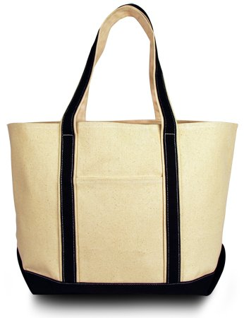 Classic Cotton Boat Tote - Windward Large Cotton Canvas Classic Boat Tote, Natural Black, Case of 24