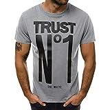 Winsummer Men Short Sleeve T-Shirt Casual Slim Fit Tshirts Summer Man Graphic Tee Shirts Tops Gray