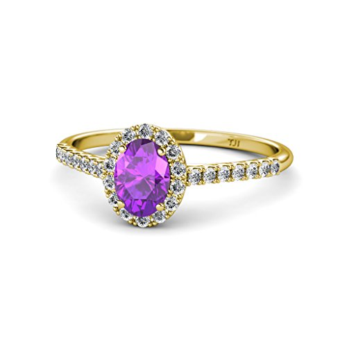 nice Oval 7x5mm Amethyst and Diamond (SI2-I1, G-H) Halo Engagement Ring 1.32 Carat tw in 14K Yellow Gold for sale
