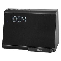 iHome - iBTW390B Bluetooth Dual Alarm Clock with Wireless Charging, Speakerphone and USB Charging Port