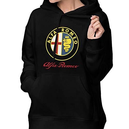(Alfa Romeo Car Women's Pullover Hoodie Sweatshirts Hooded with Pockets Black )