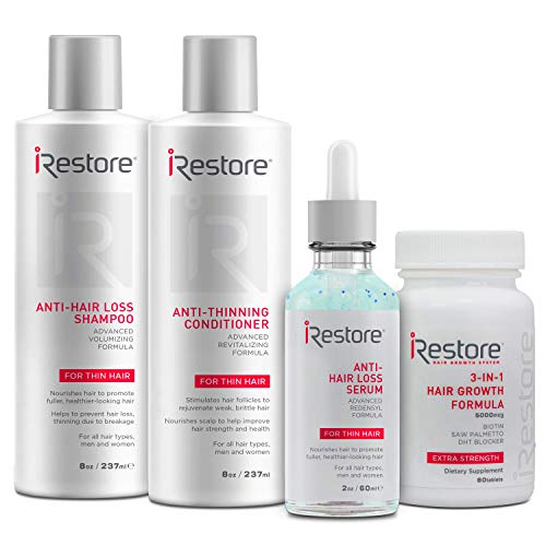 SaIe: iRestore Max Growth Bundle includes the 3-in-1 Hair Growth Supplement, Anti-Hair Loss Serum, Anti-Hair Loss Shampoo and Anti-Thinning Conditioner to combat hair loss