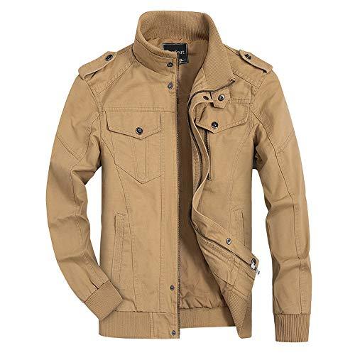 Ivnfout Men's Casual Winter Cotton Military Jackets Windproof Windbreaker Outdoor Coat(811Khaki-M)