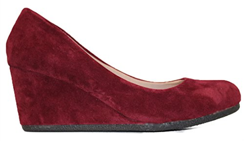 Forever Link Womens DORIS-22 Patent Round Toe Wedge Pumps Burgundy02 tFoql
