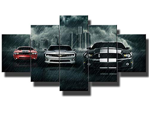 Black and White Pictures Red Sports Cars Painting Canvas 5 Panel Canvas Wall Art Modern Artwork Home Decorations for Living Room Bedroom Giclee Wooden Frame Gallery-Wrapped Ready to Hang(60''Wx32''H) - Car Art Canvas