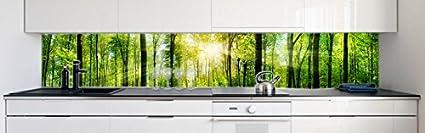 Gr/ö/ße:Materialprobe A4 K/üchenr/ückwand Waldlichtung Premium Hart-PVC 0,4 mm selbstklebend Direkt auf die Fliesen