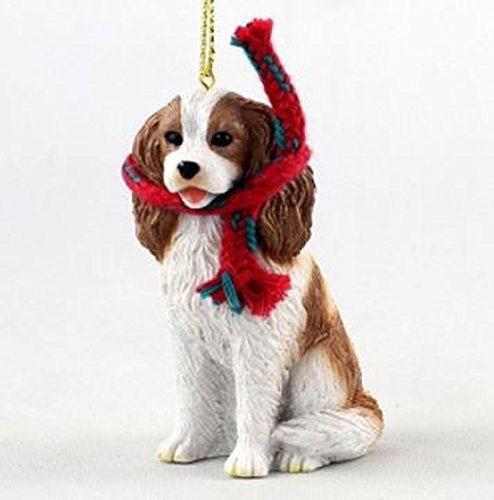 Cavalier King Charles Spaniel with Scarf Christmas Ornament (Large 3 inch version) Dog