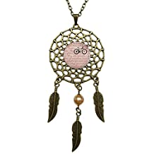 Dreamcatcher Pendant Ride Bicycle I Love my bike Bronze Chain Long Necklace Jewelry Dangling Feather Charms Glass Inlaid