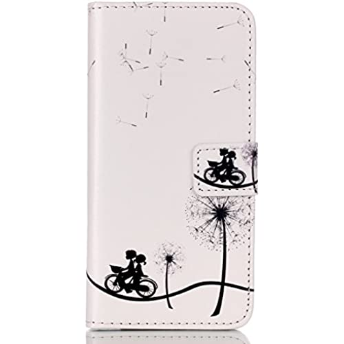 IKASEFU Leather Case for Samsung Galaxy S7 Edge,Fashion Dandelion Bicycle Premium Magnetic Folio Case with Card Sales