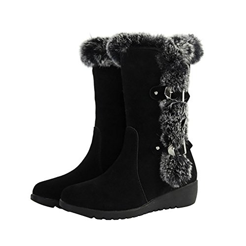 KARKEIN Waterproof Winter Snow Boots Rabbit Fur Lined Belt Buckle Mid Calf Boots For Women