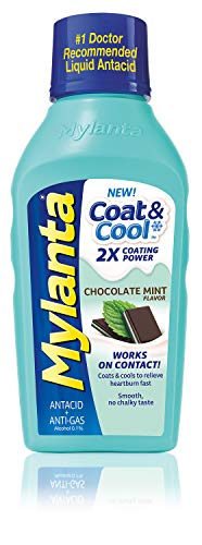 Mylanta Antacid & Gas Relief, Coat & Cool Formula, Chocolate Mint Flavor, 12 Fl. Oz, Chocolate Mint, 12 Fl Oz