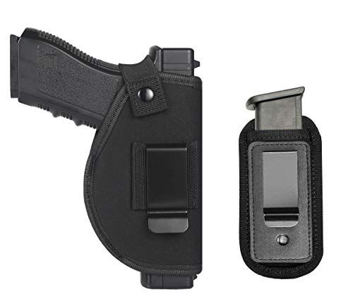 TACwolf Universal Right Left IWB OWB Holster Magazine Pouch for Inside Concealed Carry Holster for Single Double Stack Mags S&W M&P Shield GLOCK 17 19 23 25 26 27 29 30 32 33 38 42 43 Springfield XD X (Best Owb Holster For Glock 19 Concealed Carry)