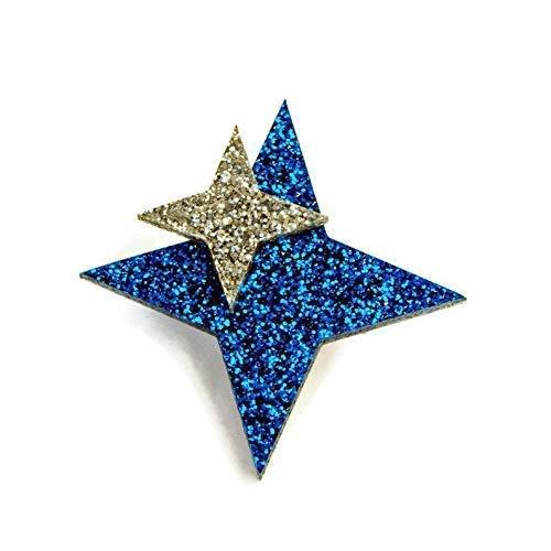 "Blue Acrylic Starburst Brooch, Retro Blue and Silver Glitter Star Brooch Pin, 2"" x 2"""
