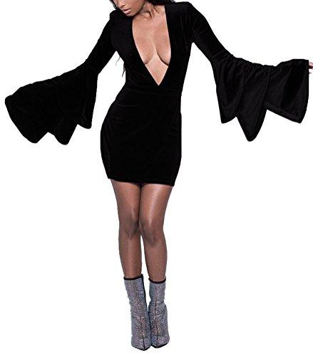 Blansdi Femmes Flare Manches Plongeon V Cou Taille Plus Moulante En Velours Mini Robe Noire Clubwear