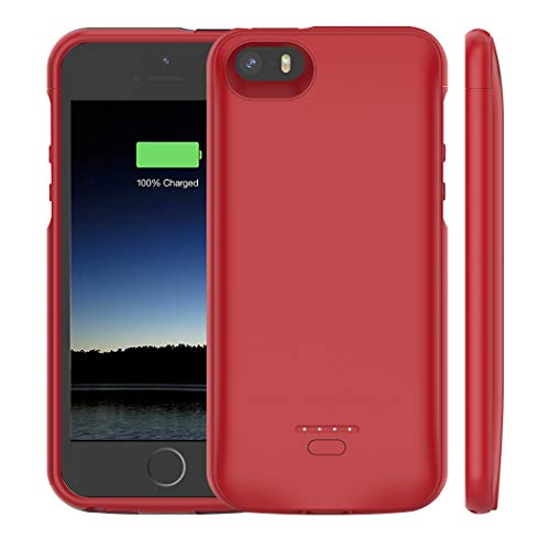iPhone 5 /5S /SE Battery Case, Euhan 4000mAh Rechargeable Portable Power Charging Case for iPhone 5 5S SE Extended Battery Pack Charger Case Ultra Thin -Red [ Not Compatible with iPhone 5C ]