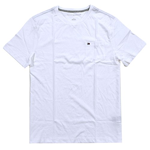 Tommy Hilfiger Mens Crew Neck Short Sleeve Pocket Tee (Medium, Bright White)