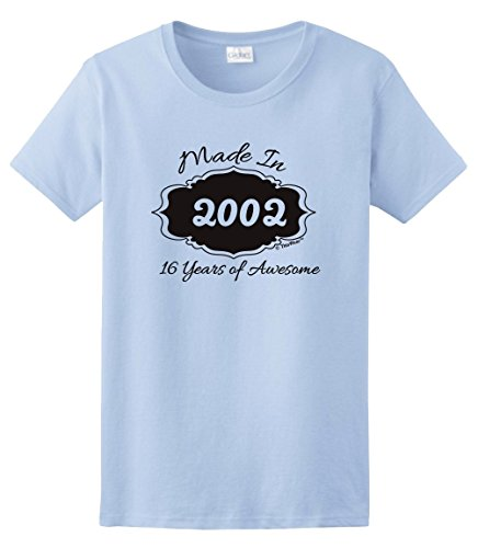 16th Birthday Gifts for Brother 16th Birthday Gifts Made 2002 16 Years of Awesome Ladies T-Shirt Small Light (Brother Womens Light T-shirt)