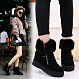 Gyoume Teen School Boots,Women Ankle Boots Winter Snow Boots Warm Flat Wedge Boots Shoes