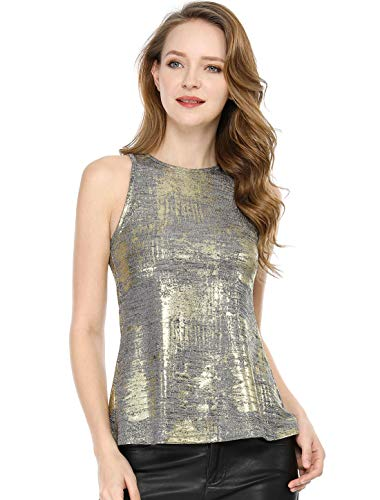 Allegra K Women's Metallic Shiny Tank Top Party Club A-Line Shimmer Camisole Vest Silver XL (US 18) - Metallic Knit Tank