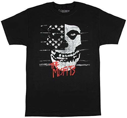 Misfits Men's American Fiend Distressed Skull T-Shirt (XX-Large) Black