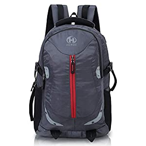 HEROZ Harbour Unisex Nylon 28 L Travel Laptop Backpack Water Resistant Slim Durable Fits Up to 17.3 Inch Laptop Notebook (153-ALL) (Gray)