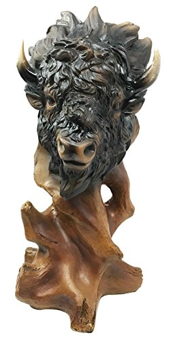 Grassland Herd Grand American Bison Buffalo Bust Faux Wood Figurine Home Decor ()
