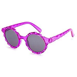 Eason Eyewear Girl's Summer Round Sunglasses 42 mm Clear Violet/Grey