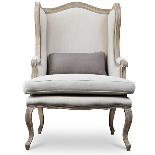 French Accent Chair - Baxton Studio Auvergne Wood Traditional French Accent Chair, Large, Brown