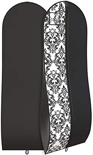 """Your Bags Travel Garment Bag 72 x 24"""" for Dress – 10"""" Tapered Gusset Black (Black and White Demask)"""