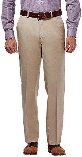 - Haggar Men's Premium No Iron Classic Fit Expandable Waist Flat Front Pant, Khaki, 34Wx32L
