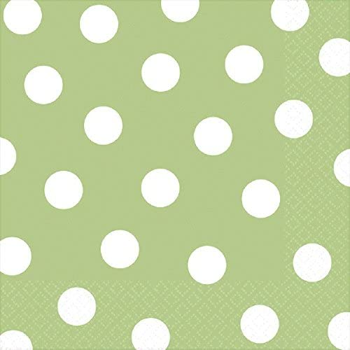 Made from Paper Leaf Green by Amscan 16 Pieces Dots Luncheon Napkin Color Party Tableware