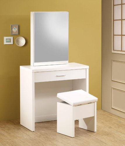 2-piece Vanity Set with Hidden Mirror Storage and Lift-Top Stool White - Bedroom Vanity