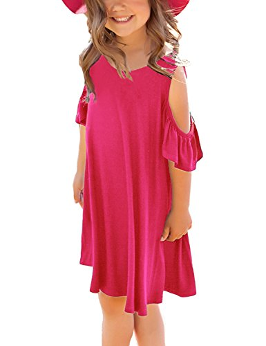 GRAPENT Girls Cold Shoulder Ruffled Short Sleeve Casual Loose Tunic T-Shirt Dress Size Large (8-9 Years) Rose -