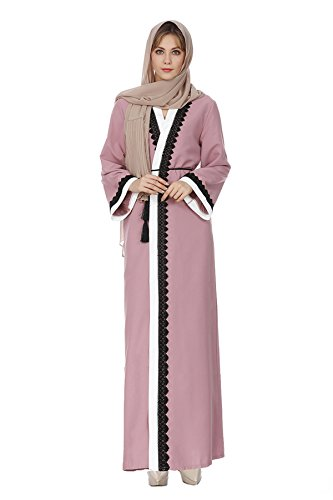 Patchwork Long Women Stripe L Slim Lace Sleeves Pink Muslim Tag L Dress Robes US Abaya gwUHqdU