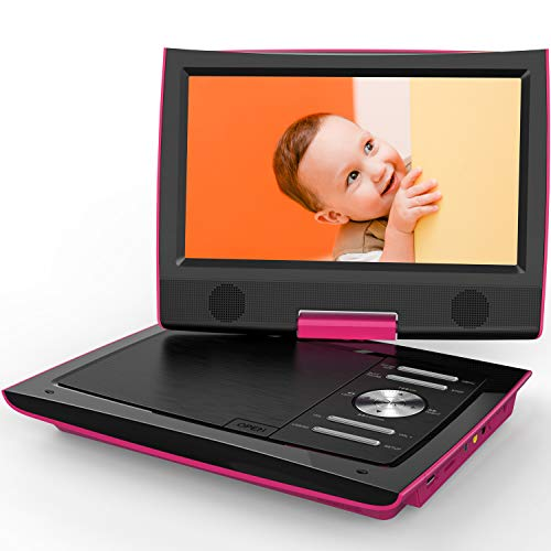 "ieGeek 11"" Portable DVD Player with Dual Earphone Jack, 360° Swivel Screen, 5 Hrs Rechargeable Battery, Supports SD Card/USB/CD/DVD and Region Free, Remote Controller, Pink"
