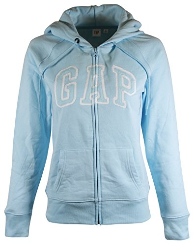 GAP Womens Fleece Arch Logo Full Zip Hoodie (XL, Light Blue) (Gap Womens Clothes)