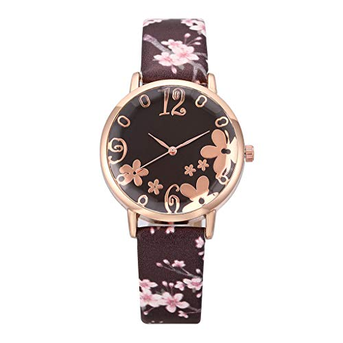 Women's Artificial Leather Strap Watch,Easy Reader Quartz Analog Strap Watch Suitable (Brown)