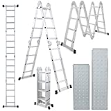 Champion Ladders Aluminium Multipurpose Combination Ladder with Top Plates and Working Shelf (12.15 ft, Silver)