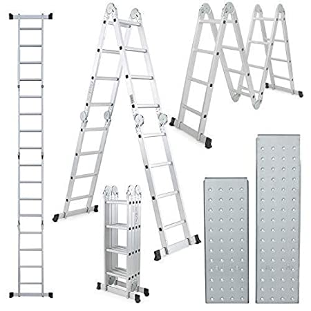 Champion Ladders Aluminium Multipurpose 4 x 3 Combination Ladder, 370 cm (12.15 Ft) with Top Plates & Working Shelf