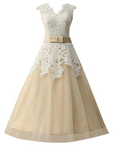 Promworld Damen A-Linie Kleid weiß weiß champagnerfarben d0yxSGR
