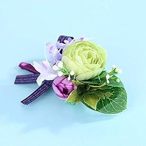 Febou Wedding Wrist Corsage Boutonniere for Bride Bridemaids 5
