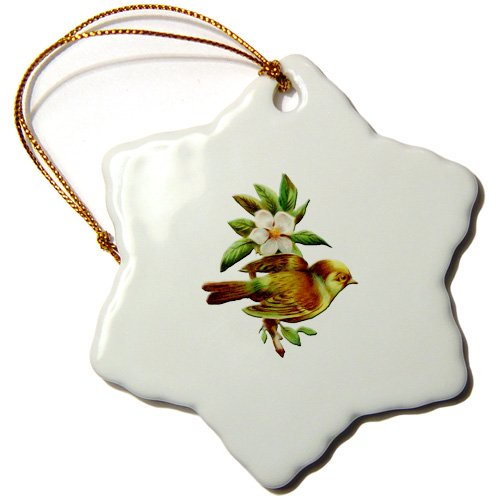 BLN Vintage Bird Illustrations Collection - Pretty Little Bird Perched on Branch of a White Flowering Tree - Ornaments - 3 inch Snowflake Porcelain Ornament (orn_171361_1)