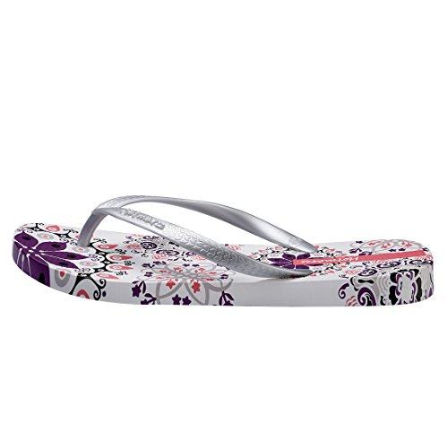 Hotmarzz Sandals Summer Women's Silver Slippers Floral Bohemia Flops Flip Beach qfrCqB